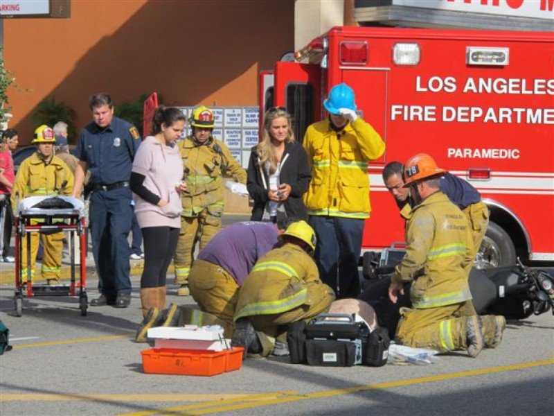 Los Angeles Fire Paramedics on accident scene