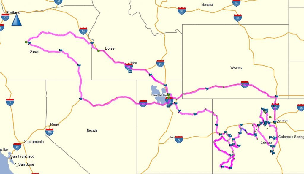 Colorado Motorcycle Trip route map