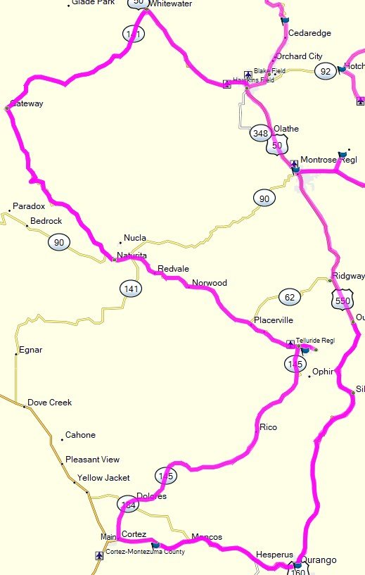 Map route to Mesa Verde