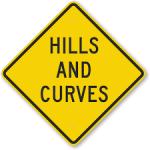 Road sign Hills Curves