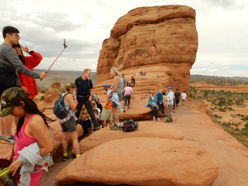 Above the slick rock trail, it narrows to a cliffside trail, but not so narrow that it becomes uncomfortable..